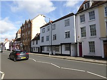 SU1429 : Assorted building styles in Exeter Street, Salisbury by David Smith