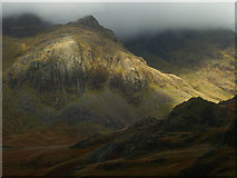 NY2206 : Storm light on Esk Buttress and Pen by Karl and Ali