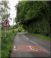 SO5819 : Warning sign - no footway for 160 yds on the approach to Walford by Jaggery