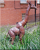 TQ2880 : Giraffe sculpture, Mount Street Gardens, Mayfair  by Free Man