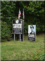 TM0792 : Signs at the entrance to Old Buckenham Airfield by Adrian Cable