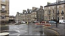 NT2473 : Blocked road, Charlotte Square by Richard Webb