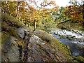 NY2514 : A tricky spot on the riverside path by Oliver Dixon