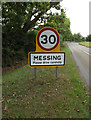 TL9018 : Messing Village Name sign on Harborough Hall Road by Adrian Cable