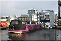 NT2472 : Purple boat about to go under Leamington Lift Bridge by Chris Allen