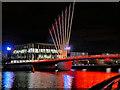 SJ8097 : MediaCity Footbridge in Red by David Dixon