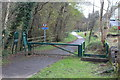 SO1603 : Barrier & stiles, National Cycle Route 467, Hollybush Station by M J Roscoe