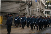 TQ3281 : View of soldiers in the Lord Mayor's Parade from Gresham Street #5 by Robert Lamb