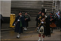 TQ3281 : View of bagpipers in the Lord Mayor's Parade from Gresham Street by Robert Lamb