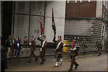 TQ3281 : View of soldiers in the Lord Mayor's Parade from Gresham Street #9 by Robert Lamb