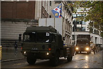 TQ3281 : View of an army truck in the Lord Mayor's Parade on Gresham Street #3 by Robert Lamb