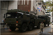 TQ3281 : View of an army truck in the Lord Mayor's Parade on Gresham Street #7 by Robert Lamb