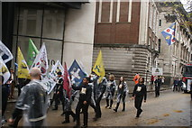 TQ3281 : View of flags in the Lord Mayor's Parade from Gresham Street by Robert Lamb