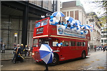 TQ3281 : View of a Vintry and Dowgate Trust Routemaster bus from the Lord Mayor's Parade from Gresham Street by Robert Lamb