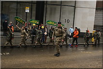 TQ3281 : View of soldiers in the Lord Mayor's Parade from Gresham Street #16 by Robert Lamb
