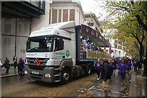 TQ3281 : View of the Great Ormond Street Hospital float in the Lord Mayor's Parade from Gresham Street by Robert Lamb