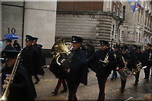 TQ3281 : View of a tuba player in the Lord Mayor's Parade from Gresham Street by Robert Lamb