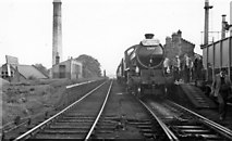 NZ1647 : Lanchester station (abandoned), with Rail Tour train, 1958 by Walter Dendy, deceased