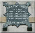 SN1928 : Date plaque on the chapel. Glandwr by Humphrey Bolton