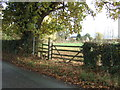 SJ5751 : Field entrance and footpath off Nantwich Road, Chorley by JThomas