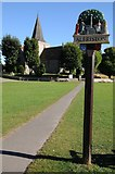 TQ5203 : Village sign and Alfriston church by Philip Halling