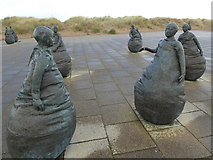 NZ3668 : Modern art at South Shields - Conversation Piece by Juan Munoz by Jeremy Bolwell