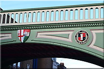 SO8455 : Railway bridge detail in Foregate Street by David Martin