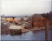 SS8983 : New bridge construction Aberkenfig November 1980 by Colin Prosser