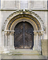 SK8572 : West Door, St Helen's church, Thorney by Julian P Guffogg