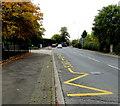 SJ6551 : Zigzag yellow road marking, Audlem Road, Nantwich by Jaggery
