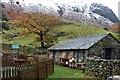 NY2312 : Stone shed at Seathwaite by Alan Reid