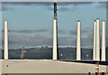 J3677 : Wind turbine masts, Belfast harbour - November 2016(4) by Albert Bridge