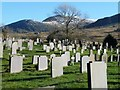 SH5863 : Slate headstones in the churchyard, Llandinorwic / Deiniolen by Christine Johnstone