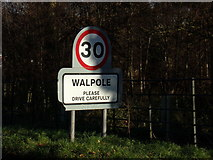 TM3674 : Walpole Village Name sign on the B1117 by Adrian Cable