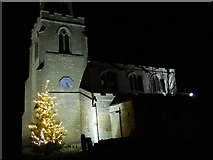 TF1505 : St. Benedict's Church, Glinton, by night with Christmas tree by Paul Bryan