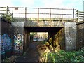 SK4732 : Railway bridge over a footpath by Ian Calderwood