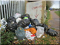 """TL3909 : """"Rubbish"""" sign by the canal at Feilde's Weir Lock by Peter S"""