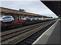 SP3165 : Trainload of cars heading west through Leamington Spa station by Robin Stott