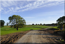 SJ6641 : Farmland and footpath south of Audlem, Cheshire by Roger  Kidd