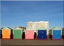 TQ2704 : Beach Huts 346-350, Western Esplanade, Hove by Simon Carey