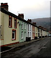 ST2195 : Colourful row of houses in West End, Abercarn  by Jaggery