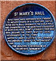 SP3378 : St Mary's Hall black plaque, Coventry by Jaggery