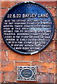 SP3378 : Black plaque, 22 & 23 Bayley Lane, Coventry by Jaggery