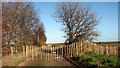 TG1715 : Fence across Bell Farm Lane by Evelyn Simak
