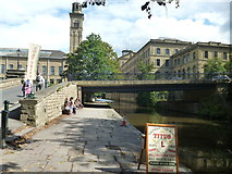 SE1338 : Saltaire: Canal bridge and Salts Mill by Dr Neil Clifton