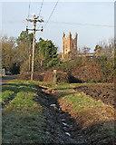 TL4568 : Cottenham: Church Lane and All Saints' tower by John Sutton