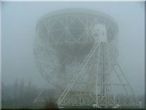 SJ7971 : The Lovell Telescope in the fog.  Jodrell Bank Observatory by Benjamin Shaw