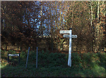 SP9435 : Signpost at the junction of Aspley Lane and Woodside by Robert Eva