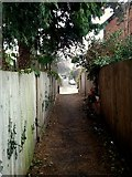 SO6024 : Alleyway between Gloucester Road and Cantilupe Road by Jonathan Billinger