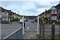 SP3576 : White pillars on Ashington Grove, Whitley, southeast Coventry by Robin Stott
